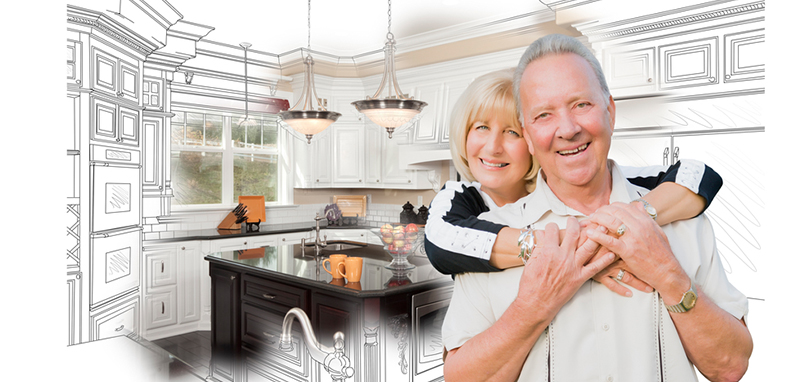 Loving elderly couple in front of kitchen redesign at home