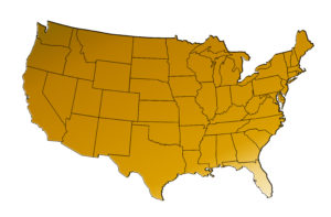 Gold colored Map of the United States