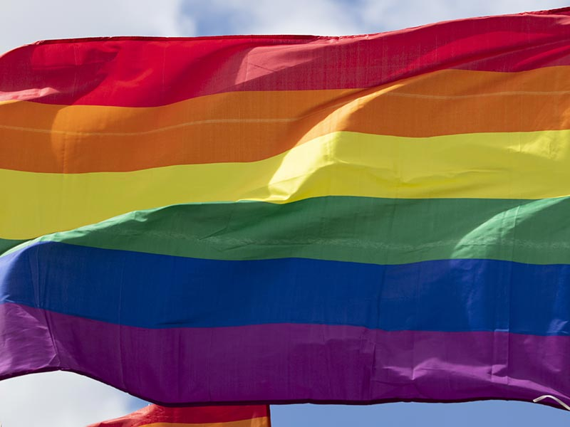 Rainbow flag blowing in wind